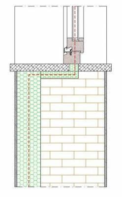 Sezione verticale con muro esterno e davanzale sotto finestra isolato.
